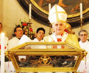 Pope Benedict with the bones of St. Augustine