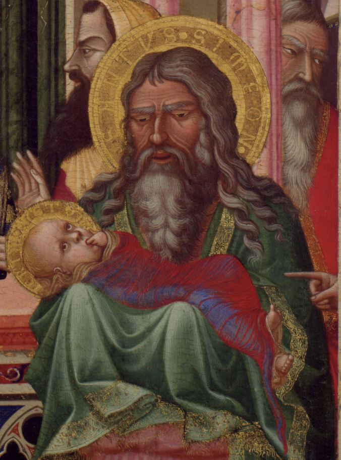 Jesus, held by Simeon, sucks on his fingers
