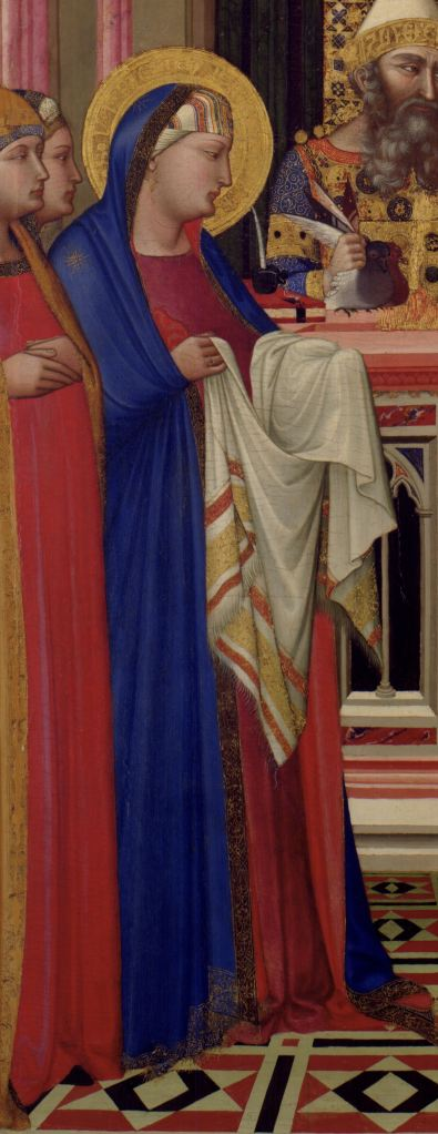 Mary holds his swaddling cloth