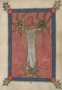 Meditative mystical image of the Trinity, from the early 14th-century Flemish Rothschild Canticles, Yale Beinecke MS 404, fol. 40v.